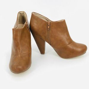 CALL IT SPRING FAUX LEATHER CARAMEL ANKLE BOOTIES SZ 8